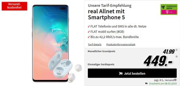 Samsung Galaxy S10 Plus + Galaxy Buds + mobilcom-debitel real Allnet (Telekom-Netz) bei MediaMarkt