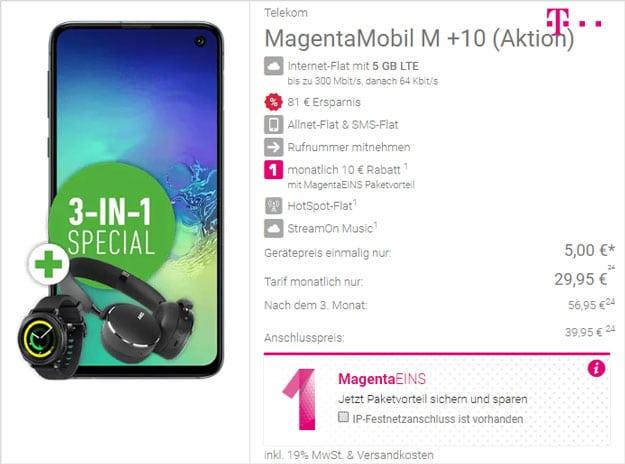 Samsung Galaxy S10e + AKG Y500 Headset + Samsung Gear Sport + Telekom Magenta Mobil M bei DeinHandy