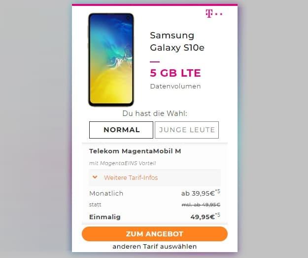 Samsung Galaxy S10e + Telekom Magenta Mobil M bei Handyflash