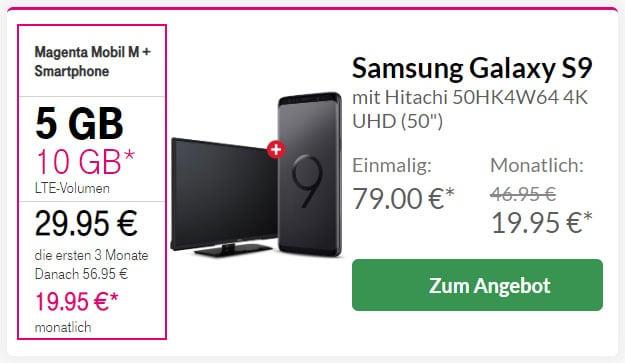 Samsung Galaxy S9 + Hitachi 4K-Fernseher bei Preisboerse24