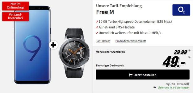 Samsung Galaxy S9 + Samsung Galaxy Watch LTE + o2 Free M bei MediaMarkt