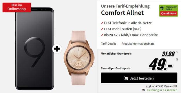 Samsung Galaxy S9 Plus + Samsung Galaxy Watch LTE (42mm Roségold, Vodafone) + Vodafone Comfort Allnet (mobilcom-debitel) bei MediaMarkt