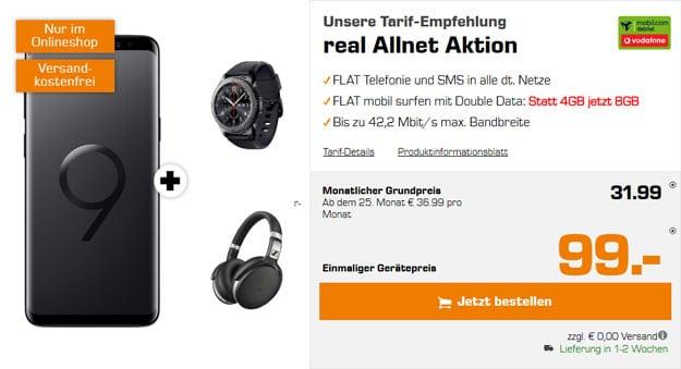Samsung Galaxy S9 Plus + Samsung GEar S3 Frontier + Sennheiser HD 4.50 + Vodafone real Allnet (mobilcom-debitel) bei Saturn