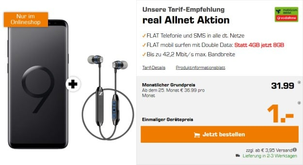 Samsung Galaxy S9 Plus + Sennheiser CX 6.00 BT + Vodafone real Allnet (mobilcom-debitel) bei Saturn