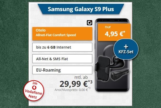 Samsung Galaxy S9 Plus + Samsung Kfz-Set + otelo Allnet-Flat Comfort LTE 50 bei Tophandy