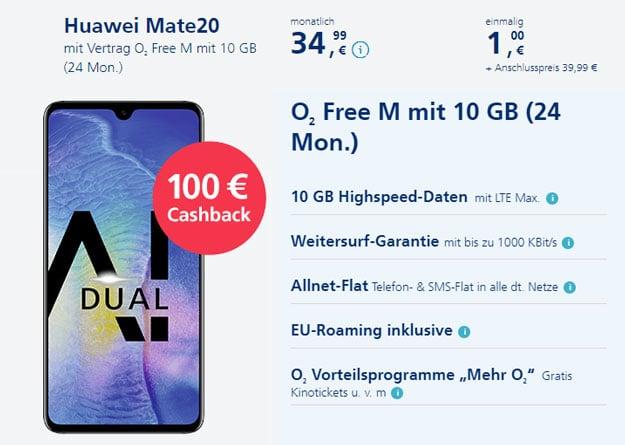 Huawei Mate 20 + 100 € Cashback + o2 Free M bei o2