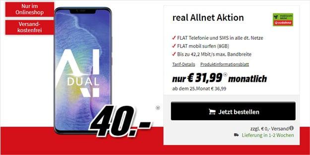 Huawei Mate 20 Pro + Vodafone real Allnet (mobilcom-debitel) bei MediaMarkt