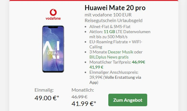 huawei mate 20 pro + smart xl vodafone
