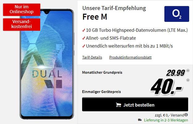 Huawei Mate 20X + o2 Free M bei MediaMarkt