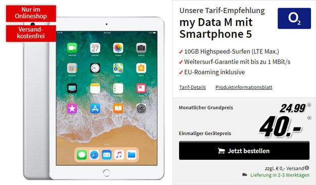 Apple iPad 2018 LTE 32GB + o2 my Data M bei MediaMarkt