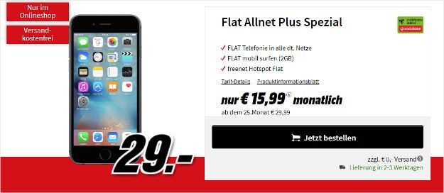 iphone 6s + vodafone flat allnet comfort md