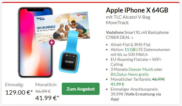 Apple iPhone X + Alcatel MoveTrack GPS-Tracker + Vodafone Smart XL bei Preisboerse24
