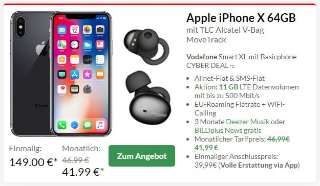 iPhone X + 1More Stylish True Wireless Headset + Vodafone Smart XL bei Preisboerse24