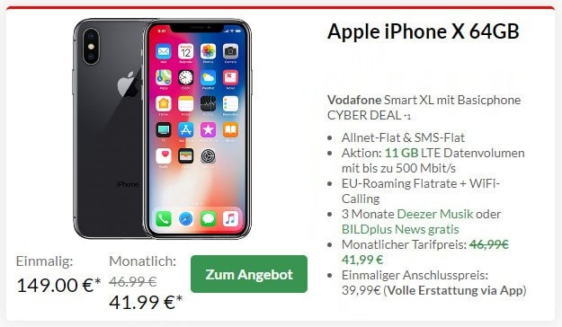 iPhone X + Vodafone Smart XL Plus bei Preisboerse24