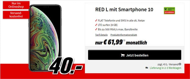 Apple iPhone Xs Max + Vodafone red L (mobilcom-debitel) bei MediaMarkt