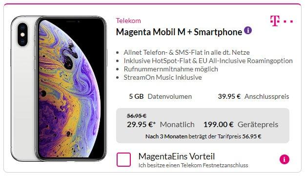 iPhone Xs + Telekom Magenta Mobil M bei Preisboerse24