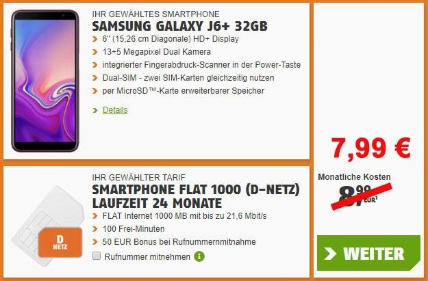 Samsung Galaxy J6 Plus + klarmobil Smartphone-Flat für effektiv 2,41 € mtl. (100 min, 1 GB, Vodafone-Netz) mit 7,99 € Grundgebühr