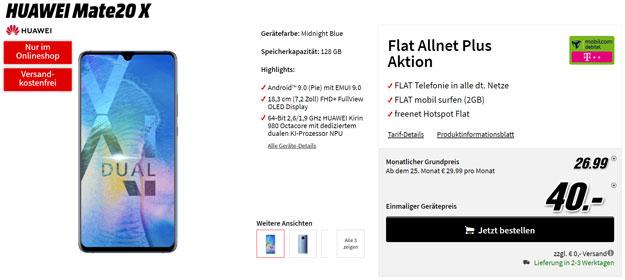Wahnsinn! Huawei Mate 20X + md Flat Allnet Plus (Telekom-Netz) eff. kostenlos (Allnet-Flat, 2 GB) mit 111 € Ersparnis