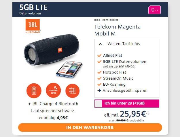 mobilcom-debitel Magenta Mobil M (Telekom-Netz) + JBL Charge 4 bei Handyflash