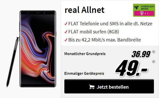 note 9 + real allnet mobilcom debitel telekom