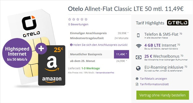 otelo Allnet-Flat Classic LTE bei FLYmobile