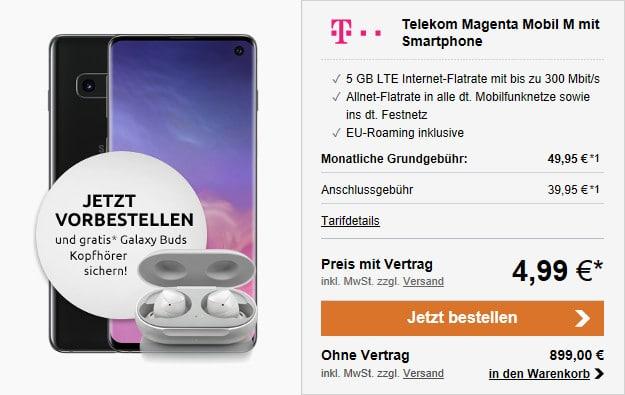 samsung galaxy s10 + telekom magenta mobil m und magentaeins