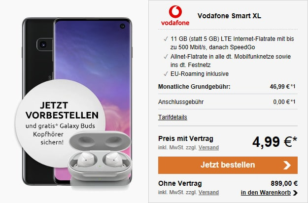 samsung galaxy s10 + galaxy buds + vodafone smart xl