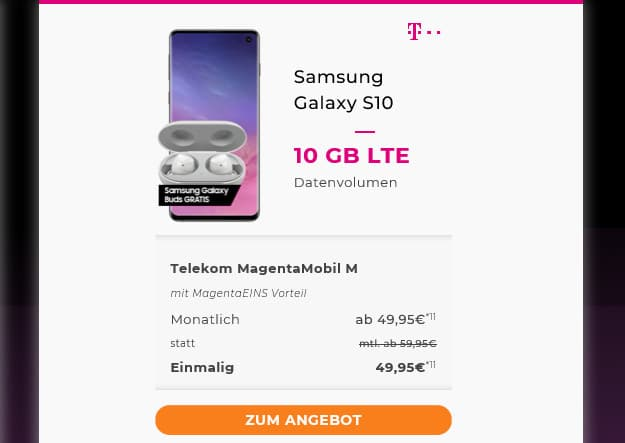 samsung galaxy s10 + telekom magenta mobil l