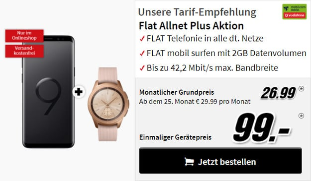 samsung galaxy s9 + galaxy watch + flat allnet comfort md vodafone