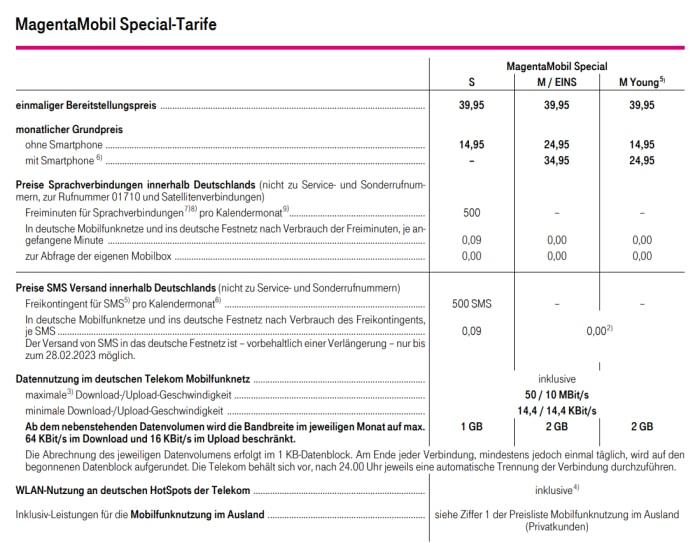 Telekom MagentaMobil Special Tarife