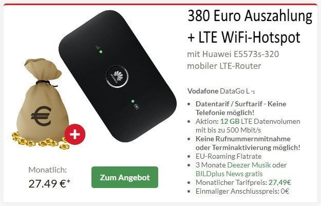 Vodafone DataGo L + Huawei E5573s-320 LTE-Router bei Preisboerse24