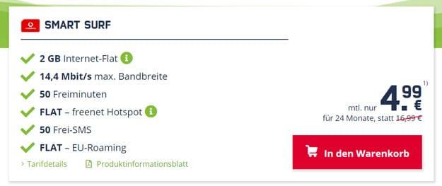Preissenkung! Vodafone Smart Surf (md) mit 4,99 € Grundgebühr