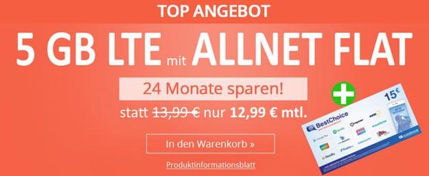 winSIM LTE All 5 GB inkl. 15 € BestChoice-Gutschein