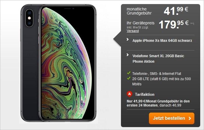 Apple iPhone Xs Max mit Vodafone Smart XL mi 20 GB LTE bei handyflash