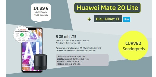 Huawei Mate 20 lite + Blau Allnet XL + Mini Speaker