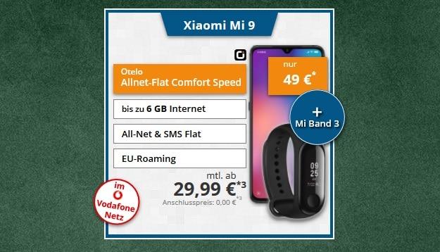 Xiaomi Mi 9 + Xiaomi Mi Band 3 + otelo Allnet-Flat Comfort LTE 50