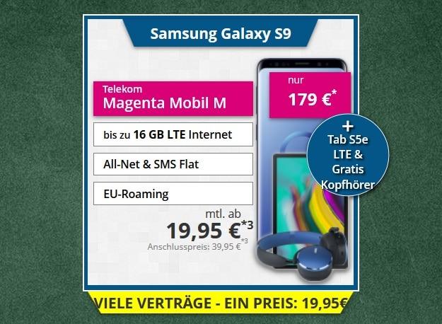 Samsung Galaxy S9 + Samsung Galaxy Tab S5e LTE + AKG Y500 Wireless Headset + Telekom Magenta Mobil M