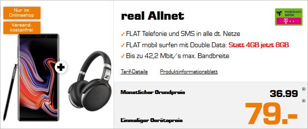 SAMSUNG Galaxy Note9 & Sennheiser HD 4.50 + Real Allnet Telekom
