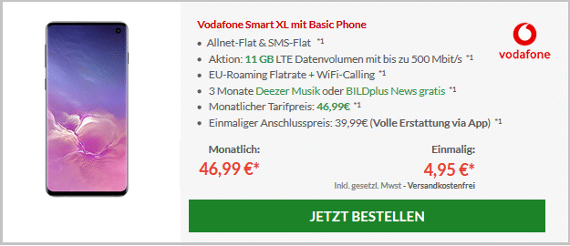 Samsung Galaxy S10 + Vodafone Smart XL