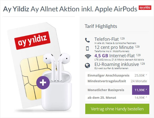 Ay Yildiz Aay Allnet + Apple AirPods (1. Generation) bei FLYmobile