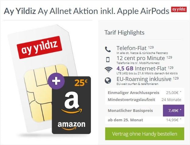 Ay Yildiz Ay Allnet + 25 € Amazon-Gutschein bei FLYmobile