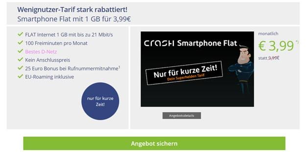 Knaller! crash Smartphone Flat 1000 mit 3,99 € Grundgebühr (100 min, 1 GB, Telekom-Netz) - 25 € Wechsel-Bonus & ohne AG!