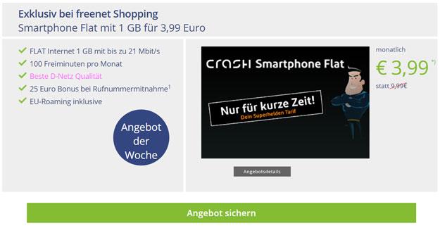 Knaller! crash Smartphone Flat 1000 mit 3,99 € Grundgebühr (100 min, 1 GB Internetflat, Telekom-Netz) - 25 € Wechsel-Bonus!