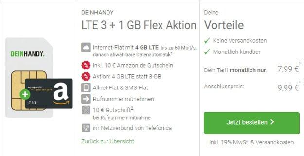DeinHandy LTE 3 GB LTE Flex Aktion