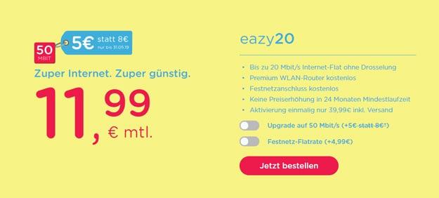 unitymedia eazy Kabel-Flat ab 11,99 € im Monat
