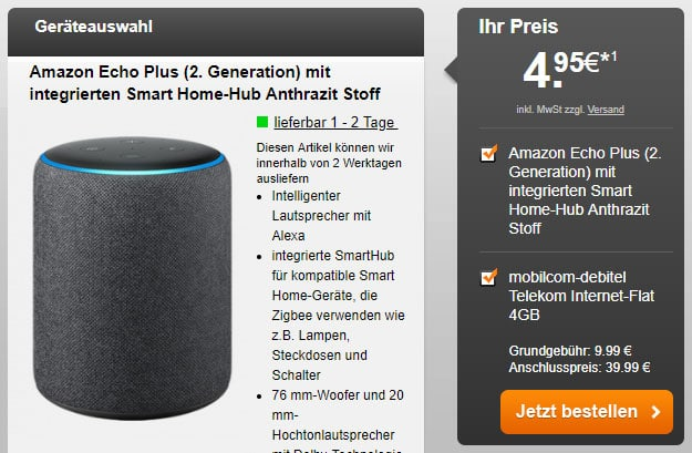 Amazon Echo Plus (2. Generation) + mobilcom-debitel Internet-Flat 4.000 (Telekom-Netz) bei Handyflash