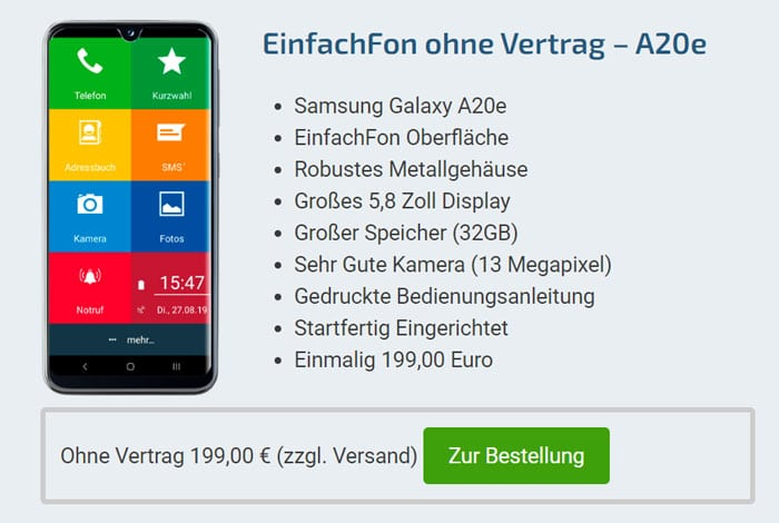 EinfachFon und Samsung Galaxy A20e ohne Vertrag