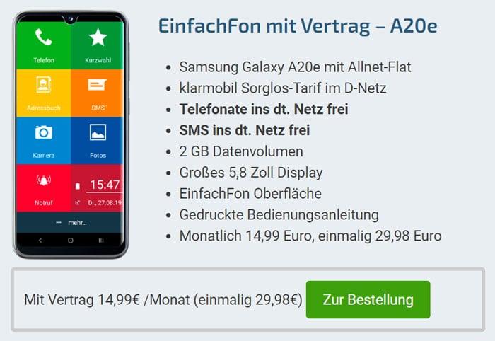 EinfachFon + Samsung Galaxy A20e mit Vertrag