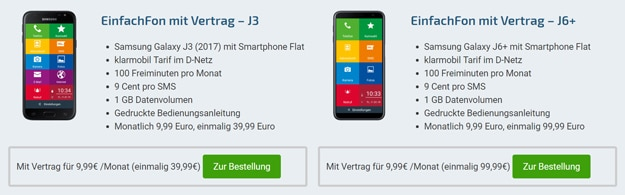 Galaxy J6 Plus oder Galaxy J3 (2017) + Smartphone Flat 1000