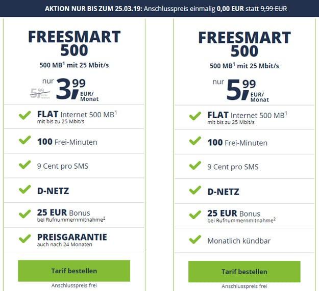 Anschlussgebührenfrei! freeSMART 500 ab 3,99 € Grundgebühr (100 min, 500 MB, Telekom-Netz) - mtl. kündbar - 25 € Wechsel-Bonus